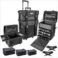 SHANY Soft Makeup Artist Rolling Trolley Cosmetic Case with Set of Mesh Bags