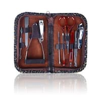 Shany 10-piece Chic Manicure Pedicure Kit with Brown Case