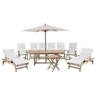 Riviera by Beliani Teak Style 10-piece Outdoor Dining Set