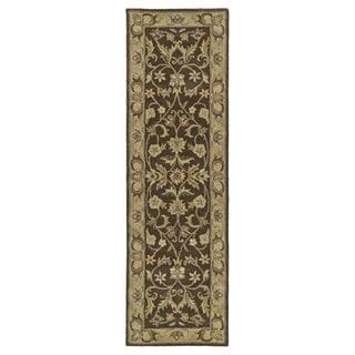 Hand-tufted Royal Taj Chocolate Brown Wool Rug (2'3 x 7'9)