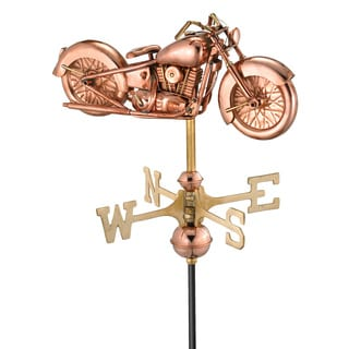 Motorcycle Pure Copper Garden Weathervane with Garden Pole by Good Directions