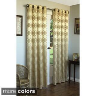 Geometric Jacquard Grommet Top 84 inch Curtain Panel