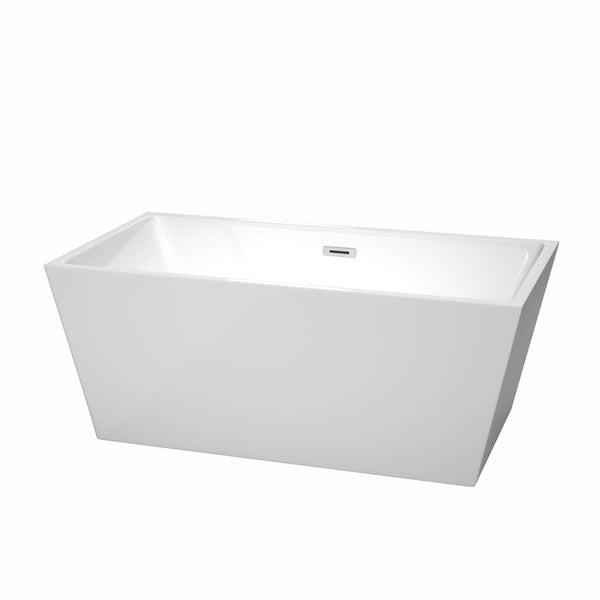 Wyndham Collection Sara 59-inch White Acrylic Soaking Bathtub
