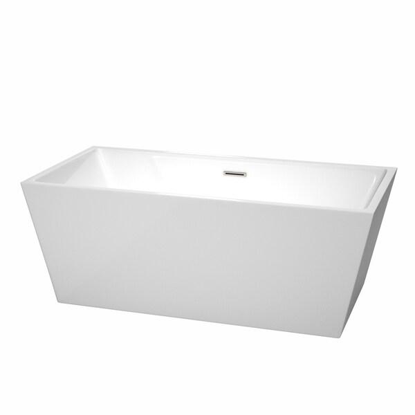 Wyndham Collection Sara 63 Inch White Acrylic Soaking Bathtub