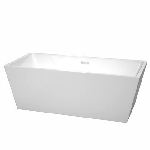 Wyndham Collection Sara White 67-inch Soaking Bathtub