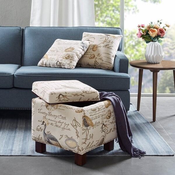 Madison Park Allison Square Storage Ottoman with 2 Pillows