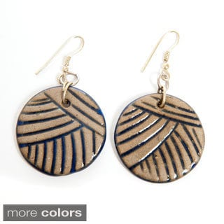 Hand-molded Ceramic Earrings and Brass Hooks (India)