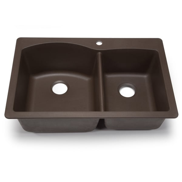 Blanco Diamond U 1 3 4 : Kraus 33 1/2 inch Dual Mount 50/50 Double Bowl Black Onyx Granite ...
