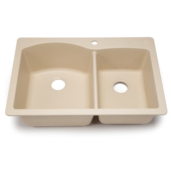 Blanco Silgranit Diamond Biscotti 1-3/4 Dual Mount Double Bowl Kitchen Sink
