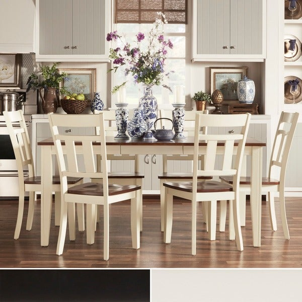 Tribecca home eli rustic two tone mission extending dining for 2 tone dining room sets