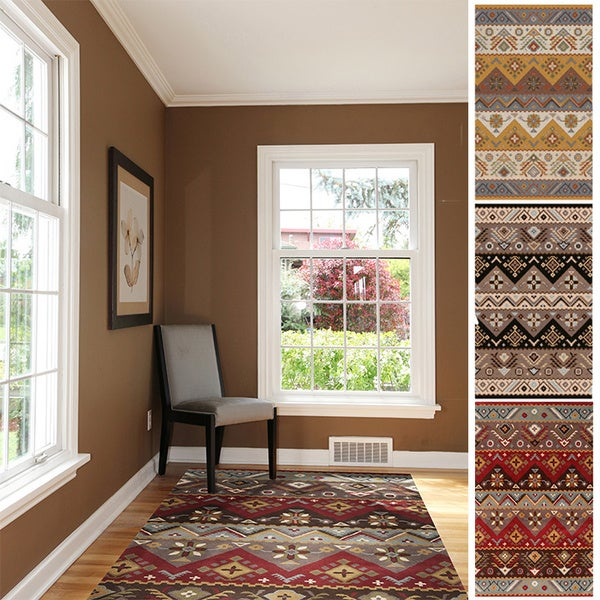 Hand-tufted Plumas Transitional Aztec Wool Area Rug - 8' x 10'