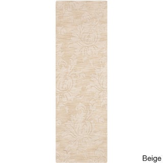 Hand loomed Solid Tone-On-Tone Otero Contemporary Floral Wool Runner Area Rug - 2'6 x 8'