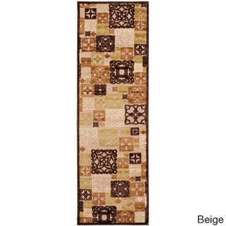 Hand-woven Damask Routt Contemporary Geometric Runner Area Rug