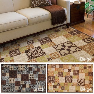 Hand-woven Damask Routt Contemporary Geometric Area Rug (4' x 5'7)