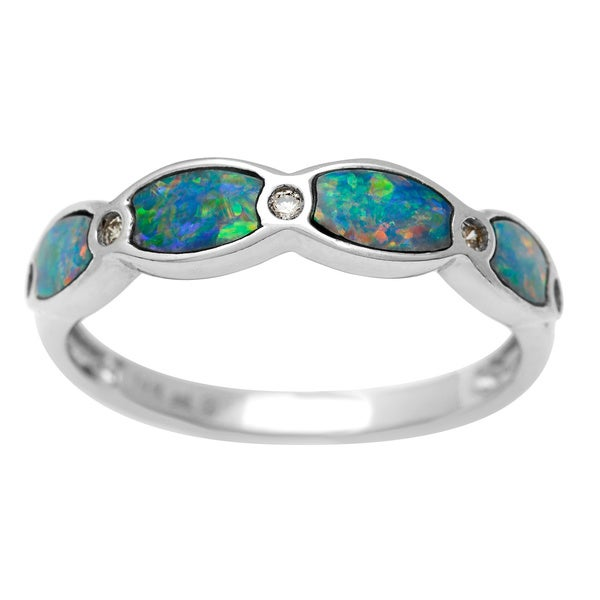 14k White Gold Opal and Round Diamond Accent Ring