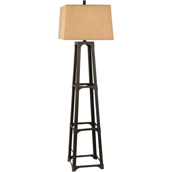 Photo Night Burlap Shade Metal Floor Lamp