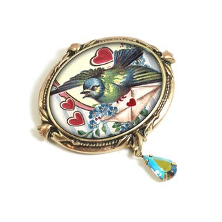 Sweet Romance Bird Love Letters Vintage Valentine Pin