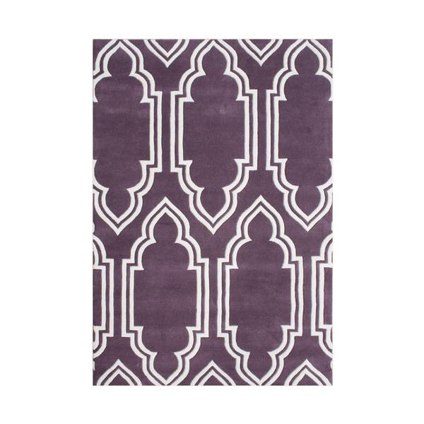 Alliyah Handmade Purple New Zealand Blended Wool Rug - 8' x 10'