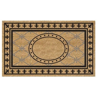 Heavy-duty SuperScraper Bungalow Design Black/ Grey Coir Doormat