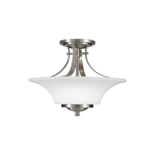 Feiss Barrington 2 - Light Indoor Semi-Flush Mount, Brushed Steel