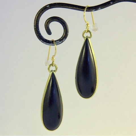 Handmade Goldtone Ebony Dew Drop Dangle Earrings by Spirit Tribal Fusion (Indonesia)