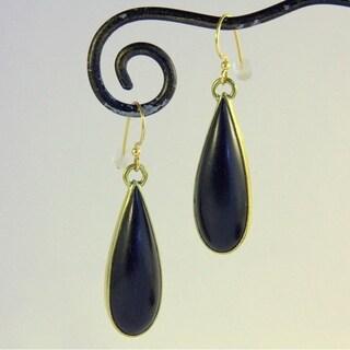 Handmade Goldtone Ebony Dew Drop Dangle Earrings by Spirit Tribal Fusion (Indonesia)