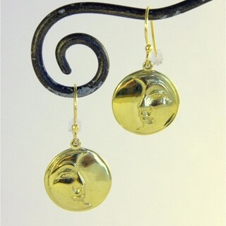Handmade Brass Moon Wisdom Dangle Earrings by Spirit (Indonesia)