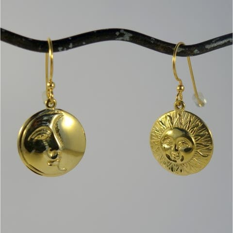 Handmade Brass Sun & Moon Eclipse Dangle Earrings (Indonesia)
