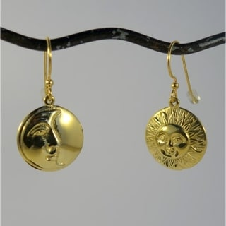 Brass Sun Moon Eclipse Dangle Earrings (Indonesia)