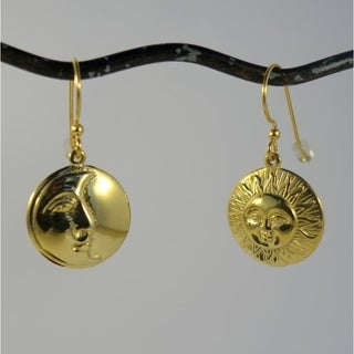 Handmade Brass Sun Moon Eclipse Dangle Earrings (Indonesia)