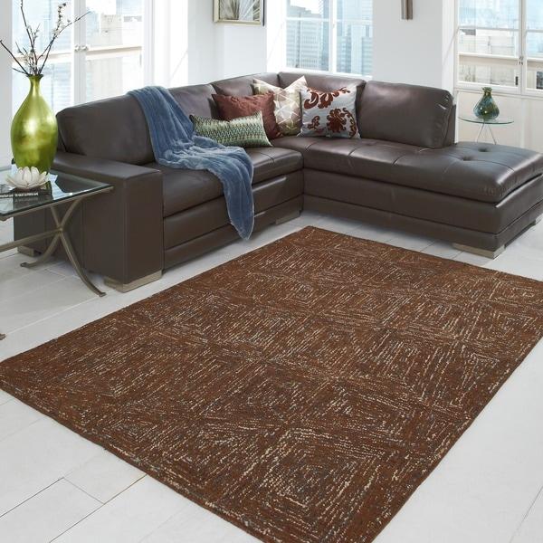Hand-tufted Dawson Brown Wool Rug (5'0 x 7'6)