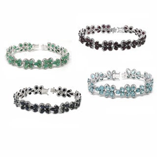 De Buman Sterling Silver Natural Ruby, Emerald, Blue Zircon or Sapphire Gemstone Bracelet
