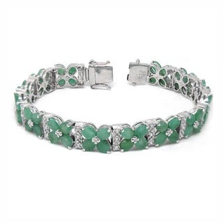 De Buman Sterling Silver Natural Ruby or Emerald Bracelet