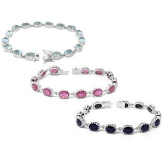 De Buman Sterling Silver Natural Ruby, Sapphire or Blue Zircon Gemstone Bracelet