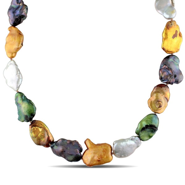 Miadora Sterling Silver Multi-Color Cultured Freshwater Pearl Necklace (15-16 mm)