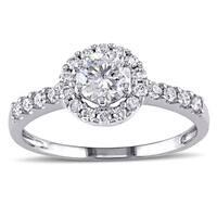 Miadora Signature Collection 14k White Gold 1ct TDW Round Halo Diamond Ring