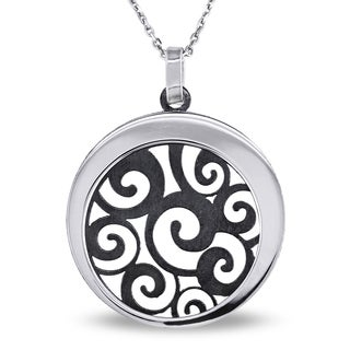 M by Miadora Sterling Silver Medallion Scroll Pendant Necklace