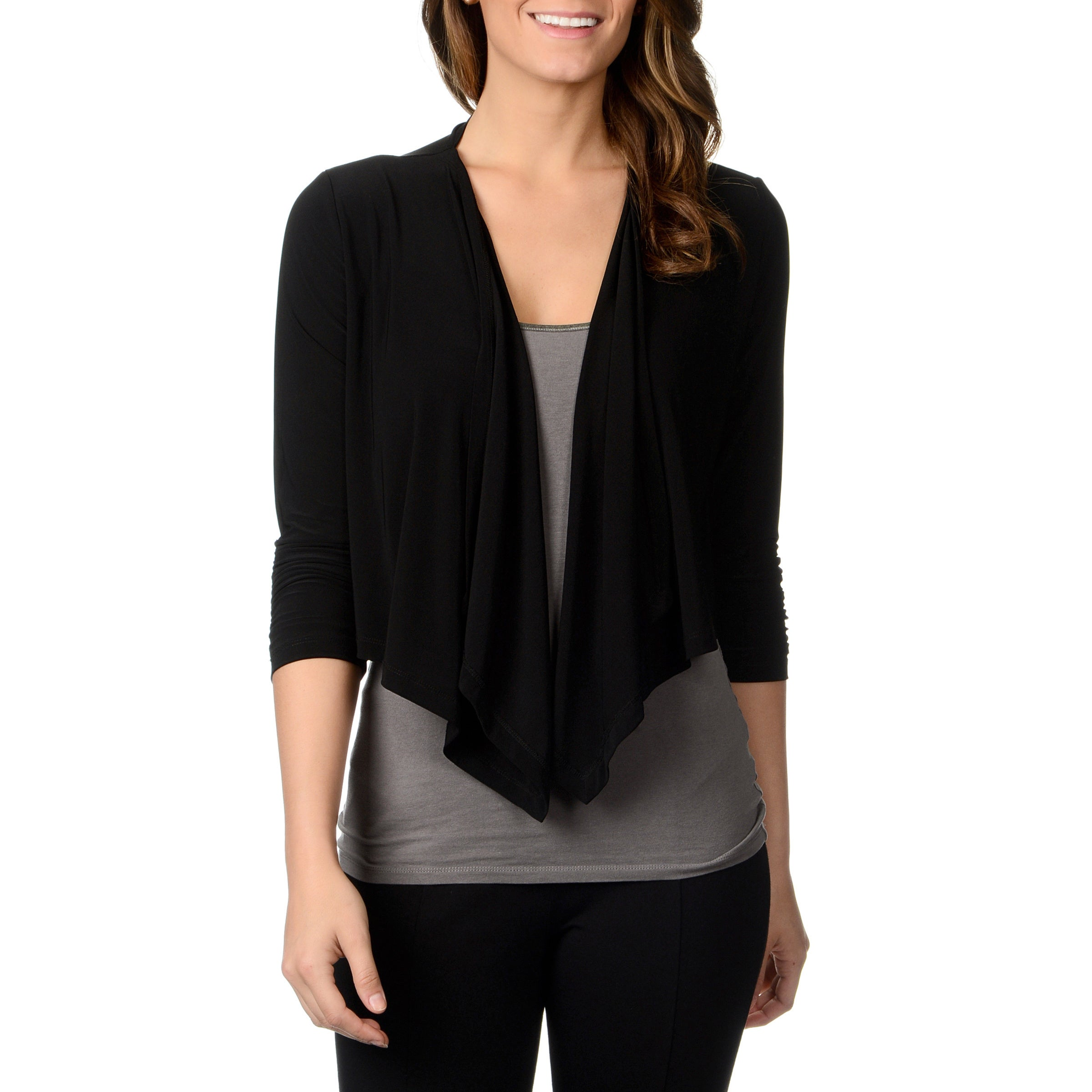 Lennie For Nina Leonard Womens Black Jersey knit Shrug