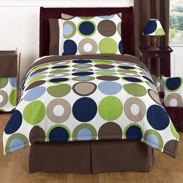 shop sweet jojo designs boys 39 dot modern 39 twin 4 piece comforter set free shipping today. Black Bedroom Furniture Sets. Home Design Ideas