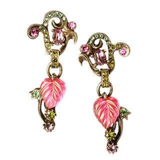Sweet Romance Vintage Leaf and Swarovksi Crystal Earrings