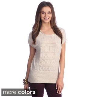 Hadari Women's Contemporary Open-knit Short Sleeve Sweater