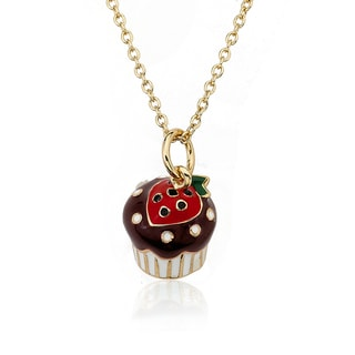 Little Miss Twin Stars 14k Gold Plated Strawberry Top Chocolate Cupcake Necklace