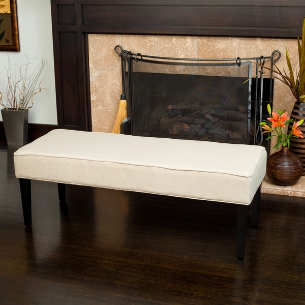 Vaughn Tan Fabric Ottoman Bench by Christopher Knight Home