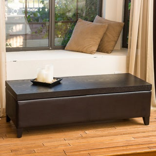 Thompson Slider Espresso Wood Top Storage Ottoman