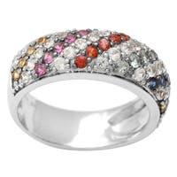 14k White Gold Multi-colored Round-cut Sapphire Ring