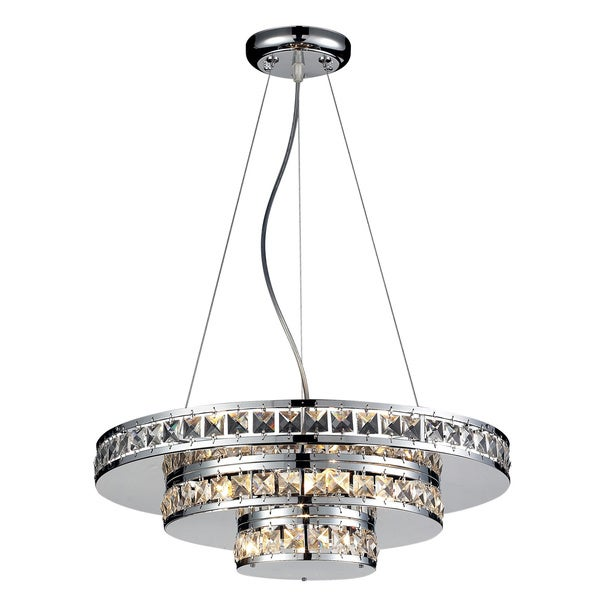 Ariel 5-light Chrome and Crystal Round Chandelier