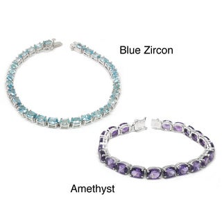 De Buman Sterling Silver Natural Amethyst or Blue Zircon Bracelet