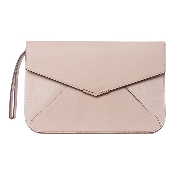 Fendi '2Jours' Pale Pink Leather Clutch