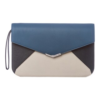 Fendi '2Jours' Blue and Cream Leather Clutch