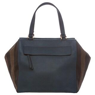 Fendi Tobacco and Blue Large Pequin Striped Boston Bag